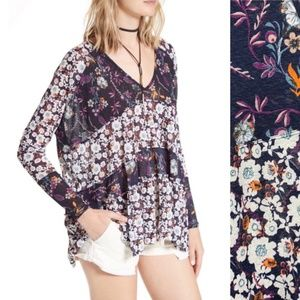 Free People Boho Oversized Isabelle Floral Top